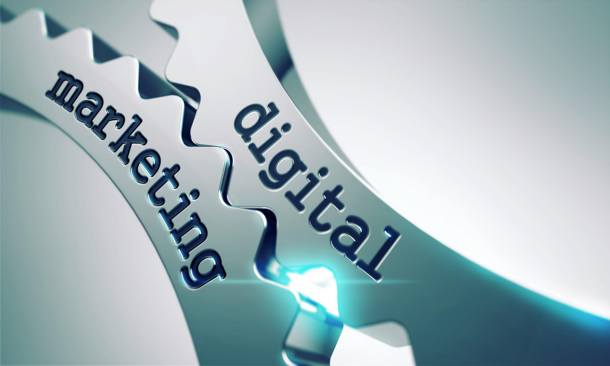 Digital Marketing Concept on the Mechanism of Metal Cogwheels.